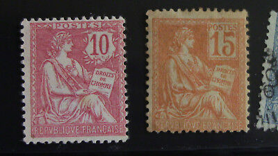 France 1900 Lot 2 Timbres N°116**recto verso et 117** Neuf Gomme d'origine