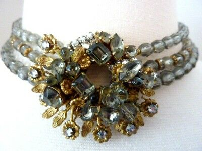 AS IS Beautiful Vintage Signed DeMario Rhinestone & Crystal Necklace Choker