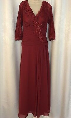 New Women's Burgundy Mother of the Bride Lace Beaded Chiffon Dress Size 16