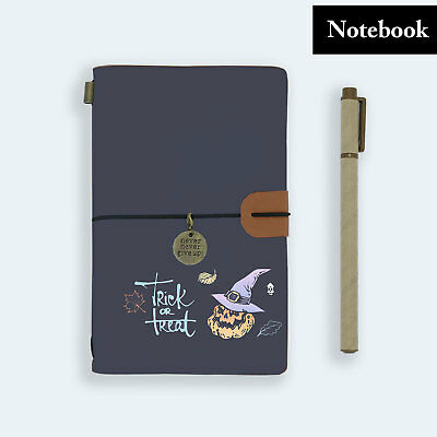 Hand Made Genuine Leather Journal Travel Diary Travelers Notebook Size Halloween