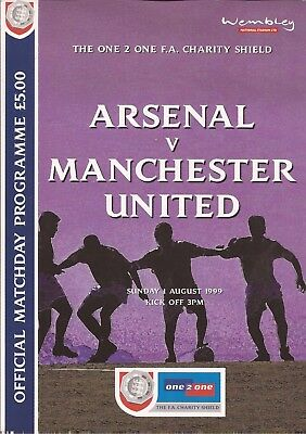 Football Programme - Arsenal v Manchester United - Charity Shield - 1/8/1999