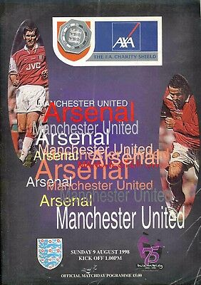 Football Programme - Arsenal v Manchester United - Charity Shield - 9/8/1998
