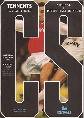 Arsenal v Tottenham Hotspur - Charity Shield - 10/8/1991 - Football Programme