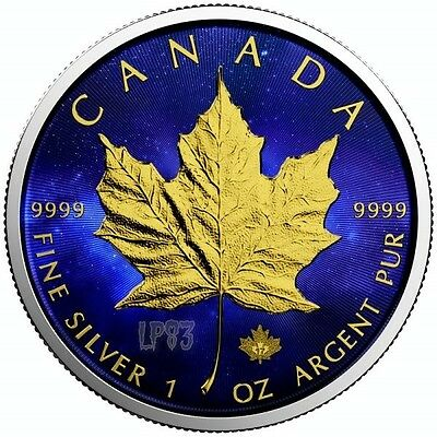 """2017 1 OZ SILVER  MAPLE LEAF 'UNIVERSE"""" COIN,- MINTAGE 100 PCS WITH 24K Gold.."""