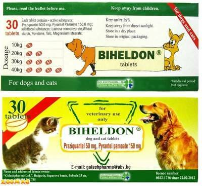 30 Tablets, Dog Wormer, Worming Tabs,Dewormer,Cat deworming in English leaflet
