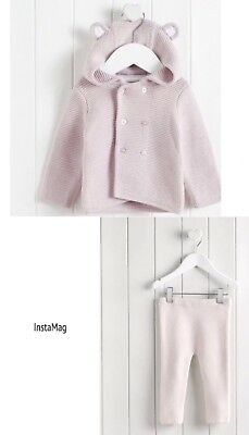 The Little White Company Pink Knitted Bear Ears Cardigan Leggings Set 6-9 Months