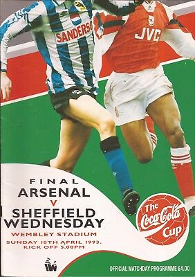 Football Programme  Arsenal v Sheffield Wednesday - League Cup FINAL - 18/4/1993