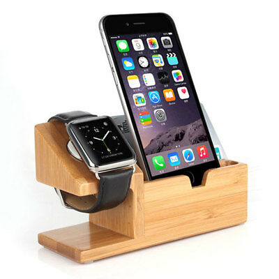 Bamboo wood charging dock station stand for Apple iWatch iPhone 3 USB ports