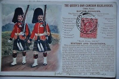 THE QUEENS OWN CAMERON HIGHLANDERS  79th FOOT BATTLE HONOURS  POSTCARD TO PARIS