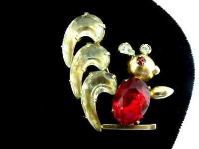 Cute Vintage Signed Scitarelli Red Rhinestone Glass Squirrel Figural Pin Brooch