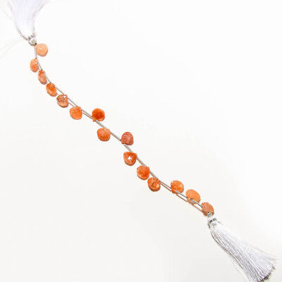 GOOD LOOKING  FACETED SUNSTONE NATURAL BEADS STRAND LENGTH 8'' 59 Ct.