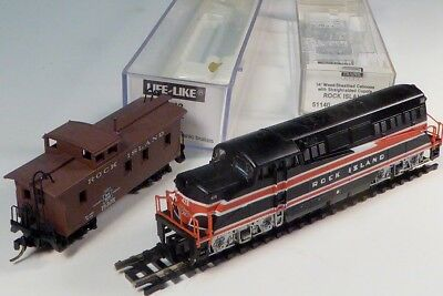 Life-Like 7912, Diesel Locomotive Rock Island With RI Caboose 51140 N Gauge MINT