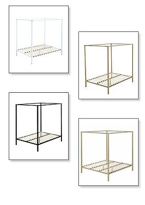 Metal Bed Frame Single Double Queen King Canopy 4 Poster Wooden Slat Bed Base