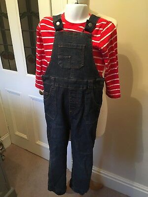 Mothercare Boys Red Striped Long Shirt Top and Pair of Denim Dungarees Age 3-4