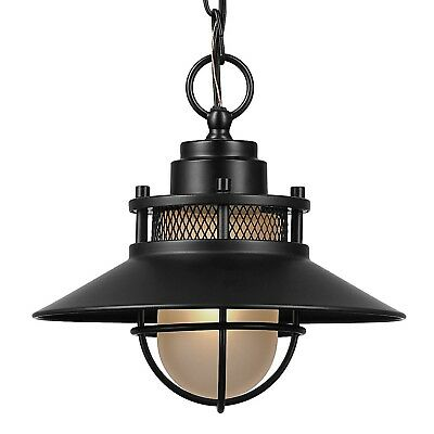 Black Outdoor Light Fixture Pendant Antique Industrial Metal Hanging Glass Mini