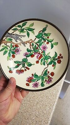 Rare and unusual Antique porcelain and metal Japanese plate