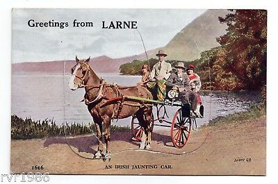 Larne, Co Antrim, Greetings from, 12 View Pull Out Novelty Postcard from 1934.