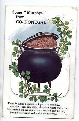 Co Donegal, Novelty Colour Postcard, Murphy's (Potatoes) in a Cauldron. 1944,