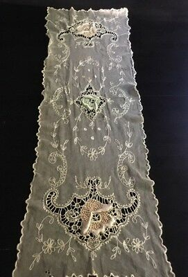 "ANTIQU TAMBOUR LACE NET EMBROIDERED RUNNER SHAWL 47""x12"""