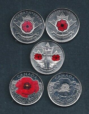 Canada Remembrance Day Red Poppy 2004 2008 2010 2015 Quarter 25 Cent Coin Set