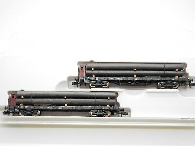 Minitrix 13408 Set Of Two Flat Bed Wagons With Loads N Gauge Boxed