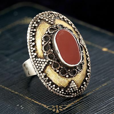 Antique Vintage Deco Sterling Silver Gold Wash Islamic Carnelian Ring! Sz 7.25