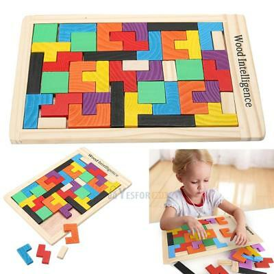 Wooden Tangram Brain Teaser Puzzle Toys Tetris Game Educational Kid Learning Toy
