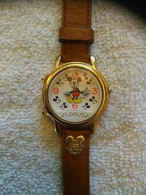 Lorus Mickey Mouse Musical Watch V422-0010 leather band