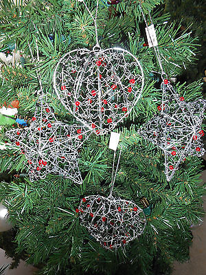 Lot of 4 Red and Black Wire Hearts and Stars Christmas Ornaments New