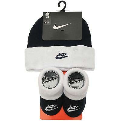 Nike Babies Hat & Booties Set Navy White Boys Age 0 to 6 Months New With Tags