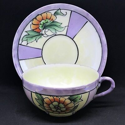 Vintage Lusterware Teacup And Saucer Purple And Cream With Gold Flower Japan