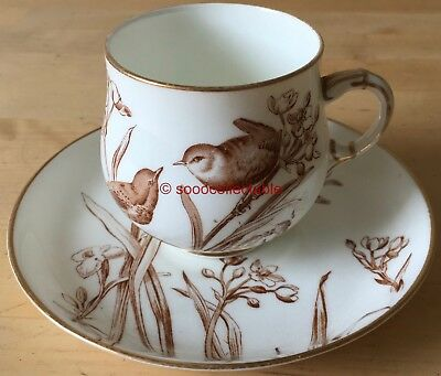 GEORGE JONES porcelain WESTBOURNE AESTHETIC movement BIRDS CUP & SAUCER DUO