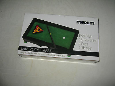 MINI POOL TABLE, MAXIM Brand New Complete with 16 Pool Balls, 2 Cues, 1 Triangle