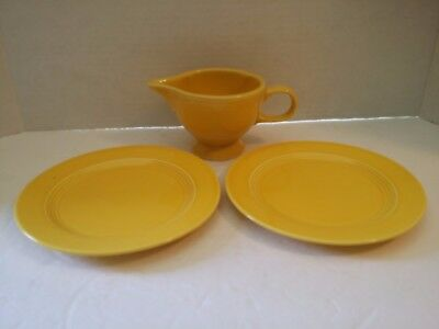 3 pc Vintage HOMER LAUGHLIN HARLEQUIN YELLOW COFFEE CREAMER PLATES ART DECO