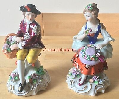 PAIR of porcelain SITZENDORF FIGURES figurines of MAN & LADY FLOWER SELLERS