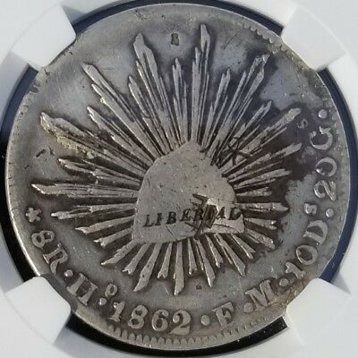 ☆☆☆ Extremely Rare 1862 Ho Fm 8 Reales - Mexican Cap And Eagle - Vf ☆☆☆
