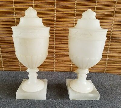 Pair Antique French Empire Alabaster Urn Lamps w/Covers Hand Carved OLD WIRING