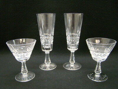 "Lot of 4 Waterford ""Lismore"" Crystal Glasses 2 Champagne 2 Tall Fluted"