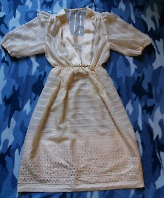 vintage cream and gold sheer dress alternative wedding size 10-12