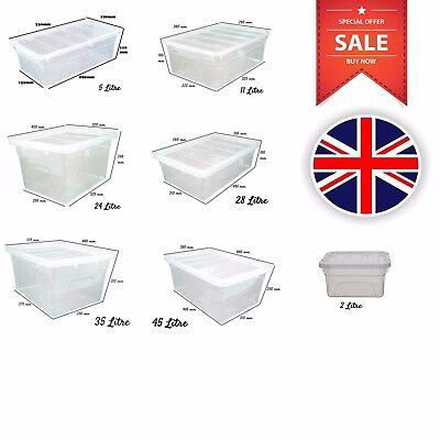 Clear Stackable Storage Boxes Plastic Containers Underbed Box with Lid UK Made