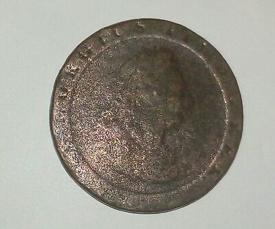Excellent English George lll Britannia copper cartwheel   penny 1797 stamped H
