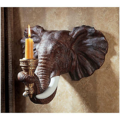 Exotic Hand Painted African Elephant Wall Sconce Sculpture Candle Holder