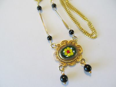 ITALIAN MICRO MOSAIC w/ONYX BEADS-GOLD STEM DESIGNED LARGE PENDANT GOLD NECKLACE