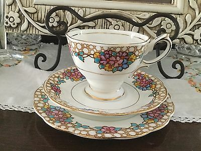 Royal Albert Trio With Blue, Purple And Yellow Flowers, Cup Af