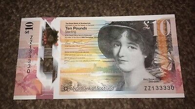 RARE Royal Bank Of Scotland ZZ1 Unique Number ending 33330 UNC NEW Polymer