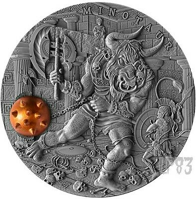 2017 2 Oz Silver MINOTAUR Ancient Myths Coin 5$ Niue.
