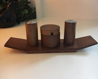 Danish Midcentury Modern Mcm Cruet Wood Condiment Set Salt Pepper