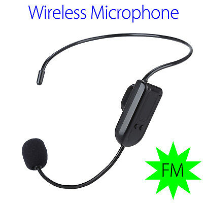 Black Wireless Microphone Headset Megaphone FM Radio Mic for Speaker Teacher