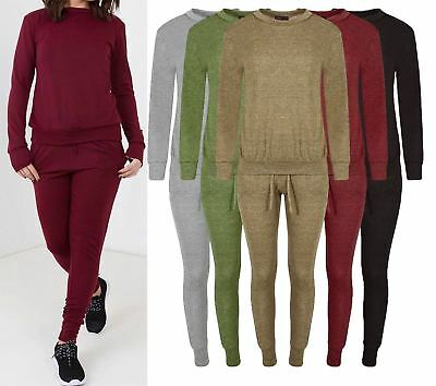 6953d2472449 New Ladies Lounge Wear Women Sweatshirt Joggers Fine Knit Tracksuit Pants  Set