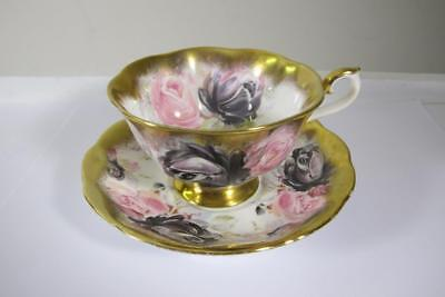 Vintage Royal Albert Bone China England Tourmaline Roses Tea Cup & Saucer Set